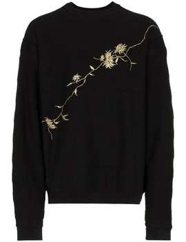 Haider Ackermannfloral Embroidered Cotton Sweatshirthome Men Haider Ackermann Clothing Knitted Sweaters by Haider Ackermann