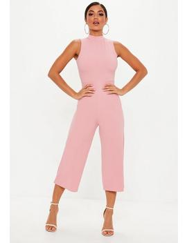 Pink High Neck Culotte Jumpsuit by Missguided