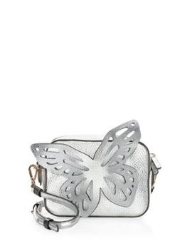 Flossy Metallic Leather Butterfly Camera Bag by Sophia Webster