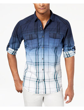 I.N.C. Men's Dip Dyed Plaid Shirt, Created For Macy's by Inc International Concepts