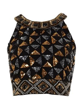 black-geo-sequin-embellished-crop-top by river-island