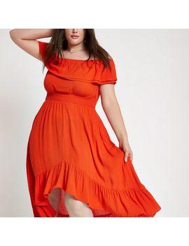Plus Red Shirred Bardot Frill Hem Maxi Dress by River Island