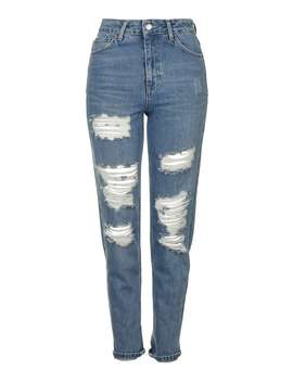 Moto Blue Super Rip Mom Jeans by Topshop