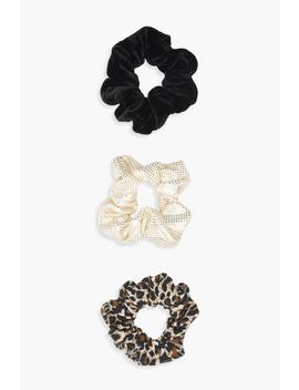 Leopard 3 Pack Scrunchies by Boohoo