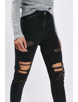 Moto Washed Black Super Rip Mom Jeans by Topshop