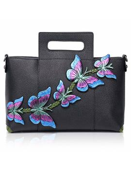 Aphison Designer Handmade Butterfly Ladies Genuine Leather Large Capacity Tote Bags Handbags 172601 by Aphison