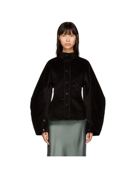 Black Large Sleeve Corduroy Jacket by Lemaire