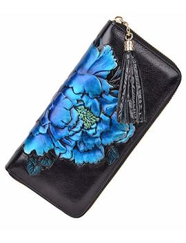 Pijushi Leather Wallets For Women Floral Wristler Wallet Card Holder Purse by Pijushi