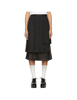 Black Alternating Pleat Skirt by Noir Kei Ninomiya