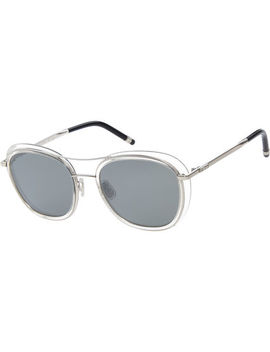 Silver Matte Glittery Square Sunglasses by Boucheron