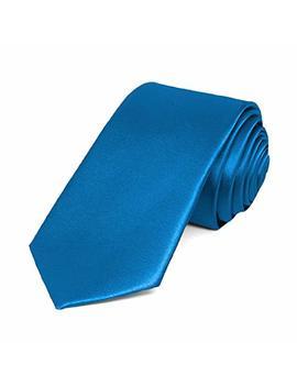 "Tie Mart Azure Blue Slim Solid Color Necktie, 2.5"" Width by Tiemart"