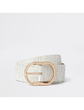 White Floral Embossed Texture Jeans Belt by River Island