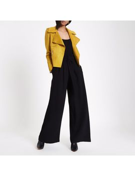Black Belted Wide Leg Pants by River Island