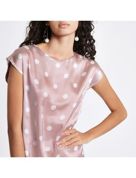 Pink Satin Spot Pleated Back Top by River Island