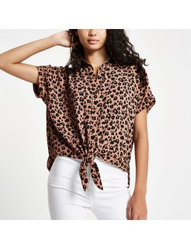 Brown Leopard Printed Tie Front Shirt by River Island