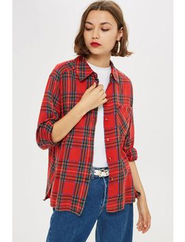 Washed Check Shirt by Topshop
