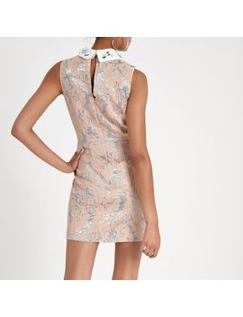 Light Pink Embellished Collar Mini Dress by River Island