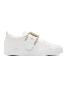 White Nappa Square Sneakers by Lanvin