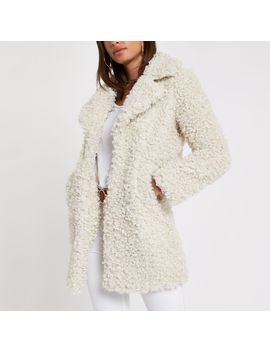 Cream Shearling Fur Longline Jacket by River Island