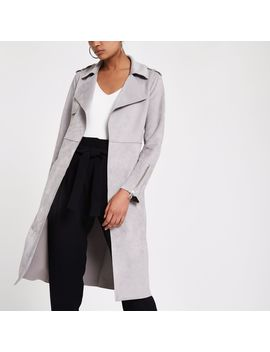 Light Grey Faux Suede Longline Trench Jacket by River Island