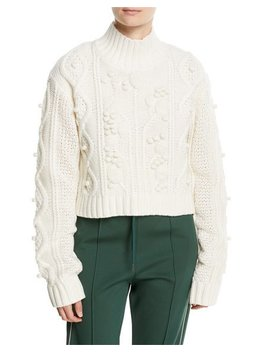 Wool Cable Knit Cropped Sweater by Joseph