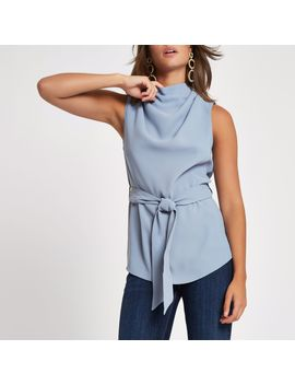 Grey Roll Neck Belted Top by River Island
