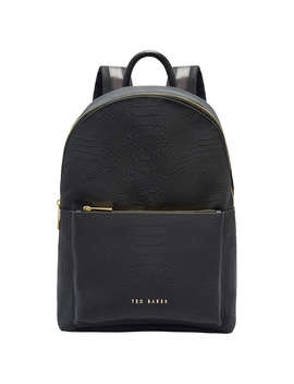 Ted Baker Creaala Leather Croc Effect Backpack, Black by Ted Baker