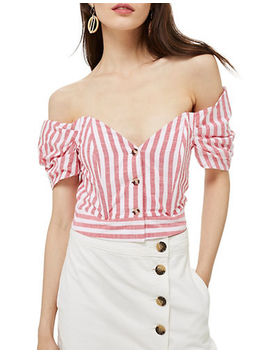 Stripe Puff Sleeve Bardot Top by Topshop