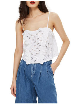 Broderie Ruffle Trim Camisole by Topshop