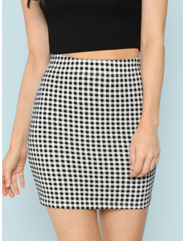 Elastic Waist Plaid Bodycon Skirt by Shein