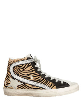Zebra Haircalf Slide Sneakers by Golden Goose