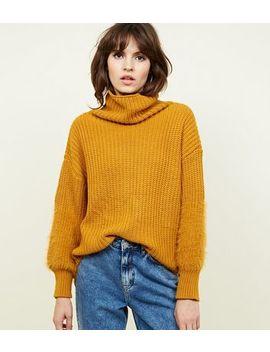 Mustard Fluffy Cuff Roll Neck Jumper by New Look