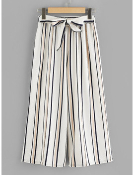 Self Tie Waist Striped Wide Leg Pants by Sheinside