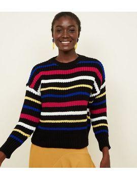 Black Multi Stripe Crew Neck Chunky Knit Jumper by New Look