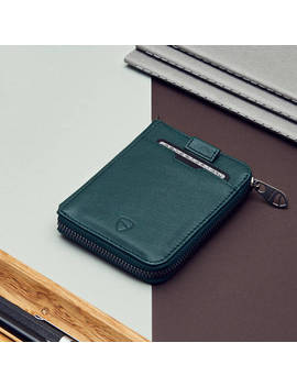 Vaultskin Notting Hill Slim Zip Wallet With Rfid Protection For   Cards Cash Coins (Alpine Green) by Vaultskin