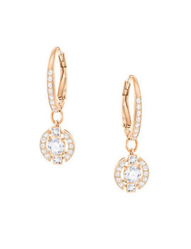 Sparkling Dance Crystal Rose Goldplated Round Earrings by Swarovski