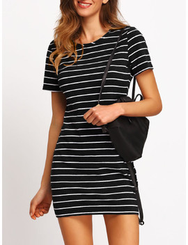 Striped Fitted Tee Dress by Shein