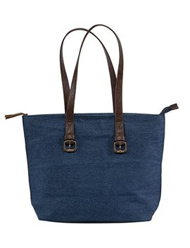 Women's Genuine Leather Denim Tote Bag Purse   Handcrafted Shoulder Handbag With Soft Leather Straps by The Aartisan