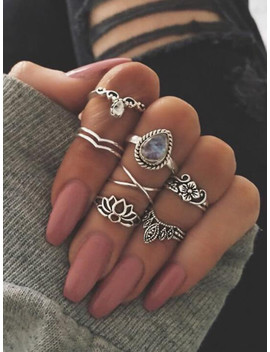 At Silver 7 Pcs/Set Flower White Opal Rings by Sheinside