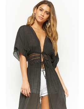 Open Front Longline Kimono by Forever 21