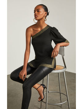 Metallic Trimmed One Shoulder Top by Bcbgmaxazria