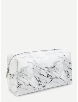 Marble Pattern Makeup Bag by Sheinside