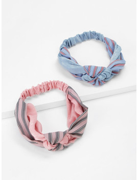 Striped & Knot Headband 2pcs by Sheinside