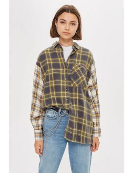 Mixed Check Oversized Shirt by Topshop