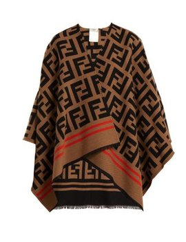 Ff Logo Wool Blend Poncho by Fendi
