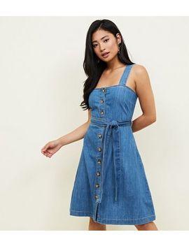 Petite Blue Denim Faux Horn Button Through Midi Dress by New Look