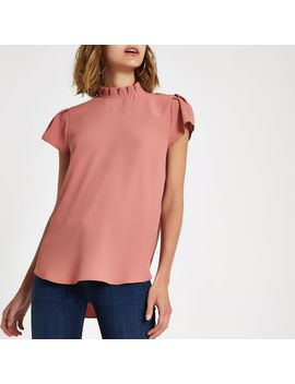 Pink Frill Neck Shell Top by River Island
