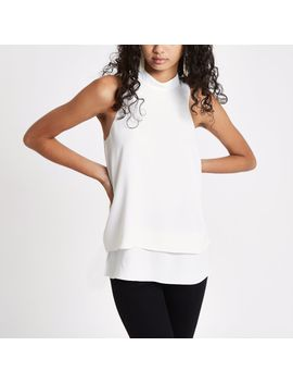 White Halter Neck Double Layer Blouse by River Island