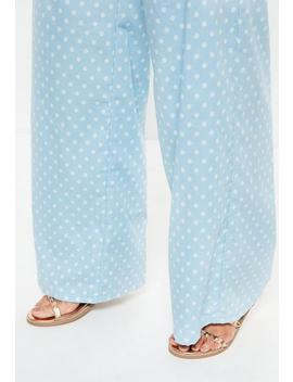 Blue Polka Dot Wide Leg Jeans by Missguided