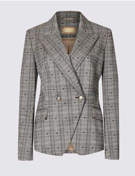 Cotton Blend Checked Double Breasted Blazer by Marks & Spencer